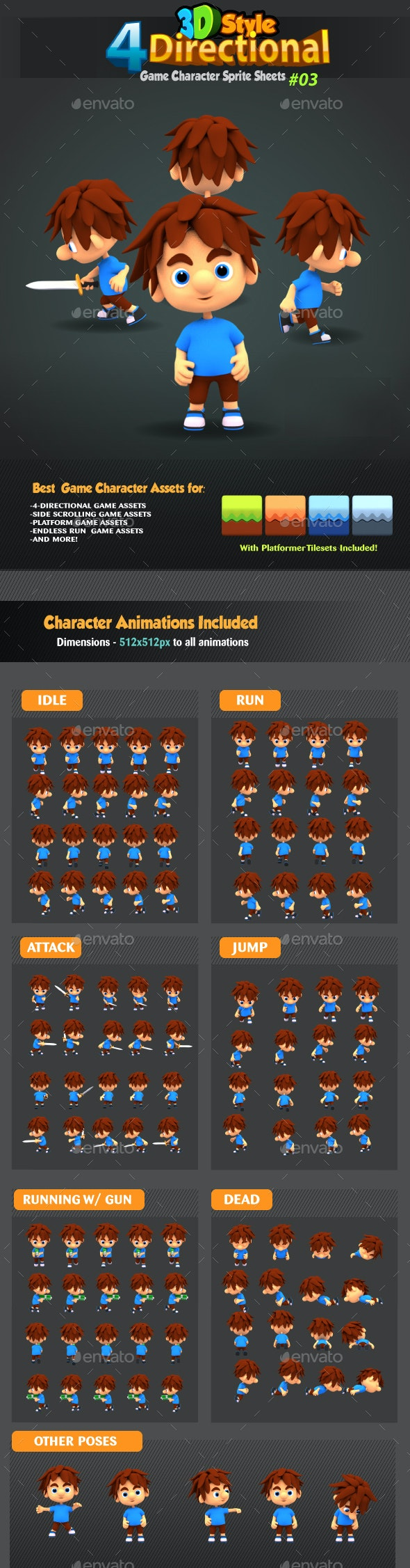 4 Directional 3D Style Game Character Sprites 03 - Sprites Game Assets