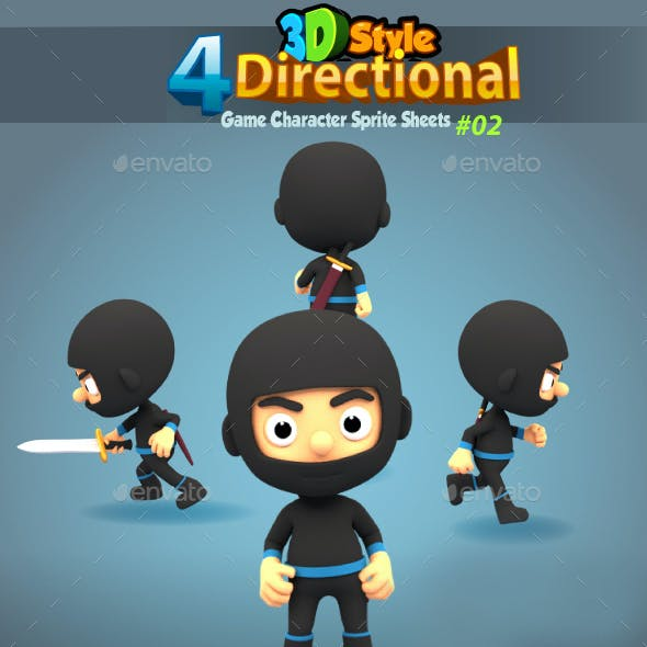 4 Directional 3D Style Ninja Game Character Sprites 02