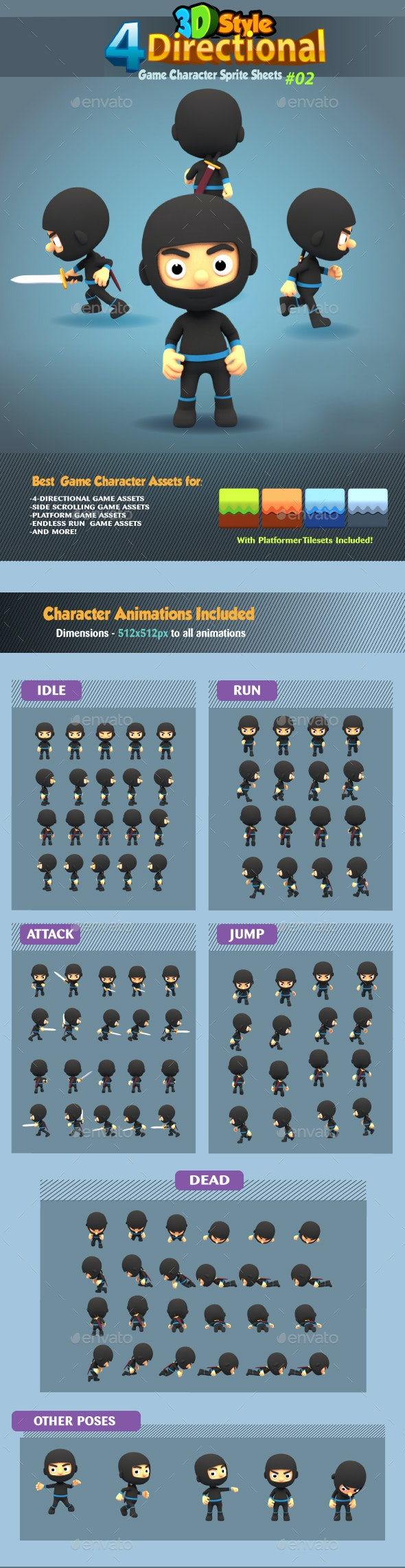 4 Directional 3D Style Ninja Game Character Sprites 02 - Sprites Game Assets