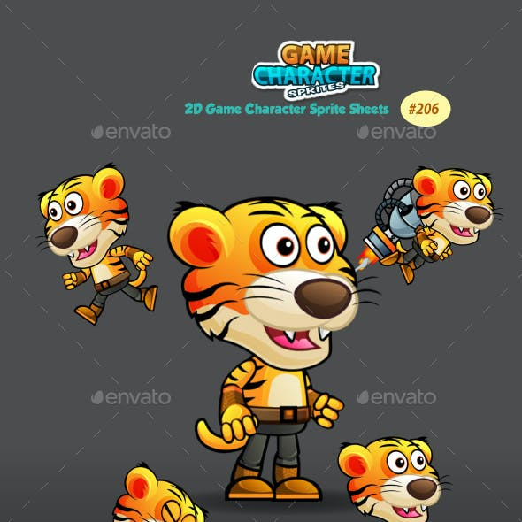 Tiger Warrior 2 Game Character Sprites 206