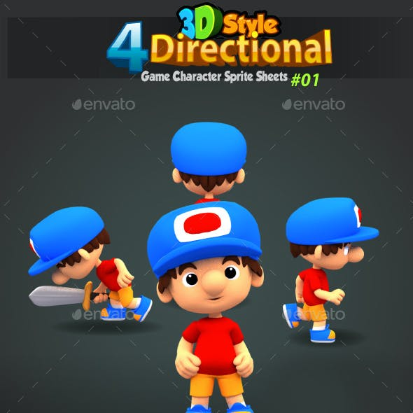 4 Directional 3D Style Game Character Sprites 01