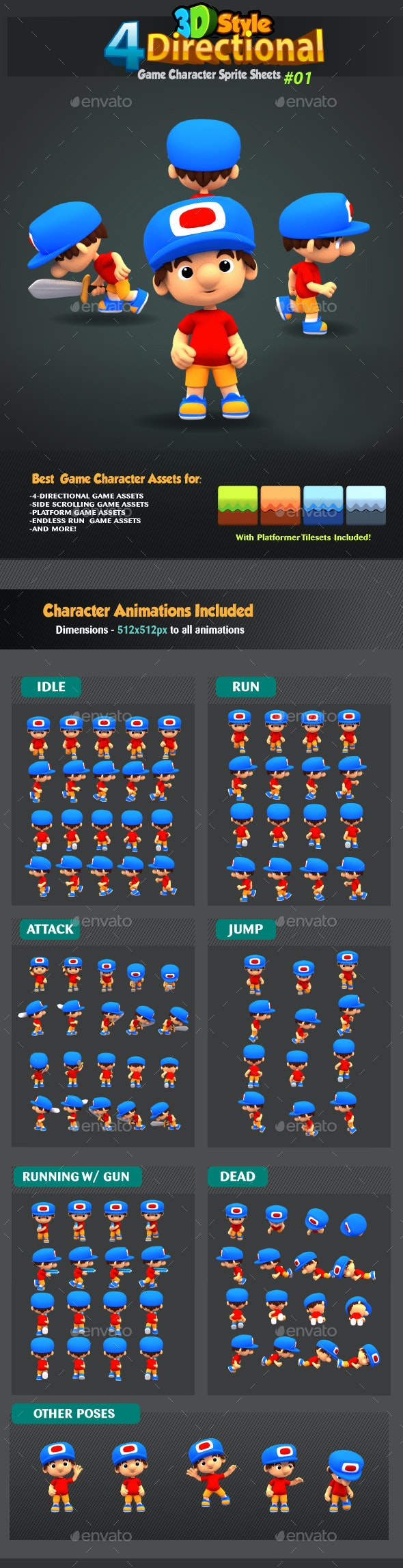 4 Directional 3D Style Game Character Sprites 01 - Sprites Game Assets