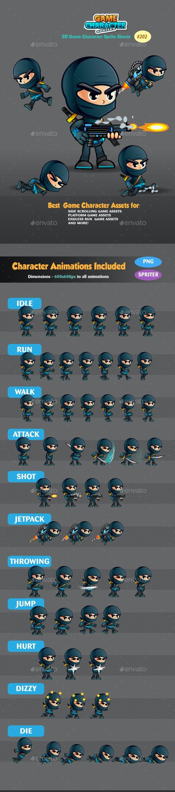 Ninja 2D Game Character Sprites - Sprites Game Assets