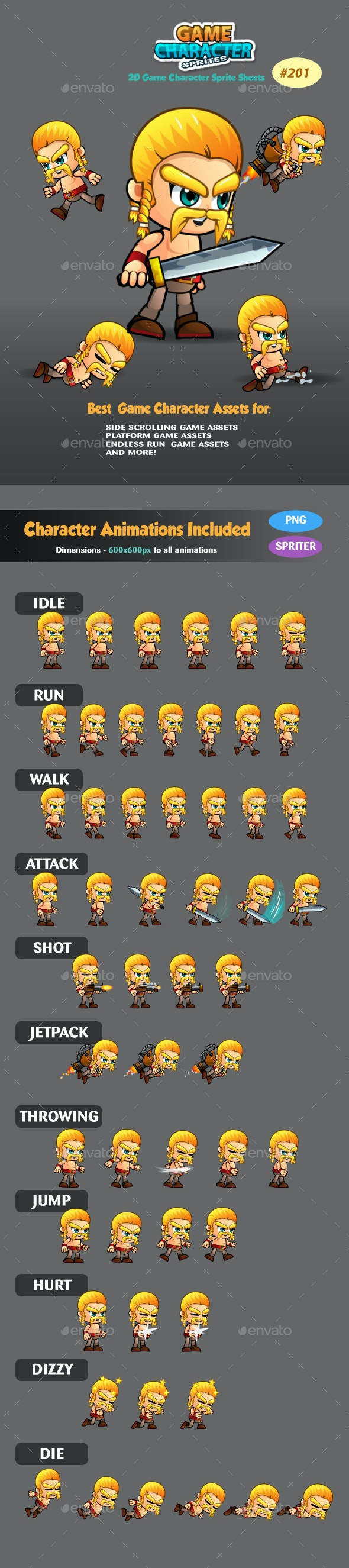 Barbarian 2D Game Character Sprites 201 - Sprites Game Assets