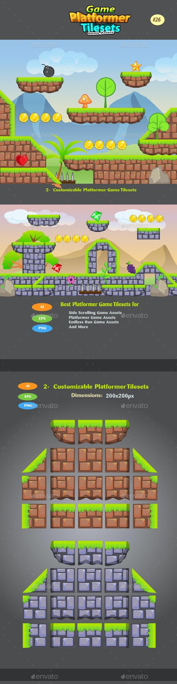 2D Game Platformer Tilesets 26 - Tilesets Game Assets
