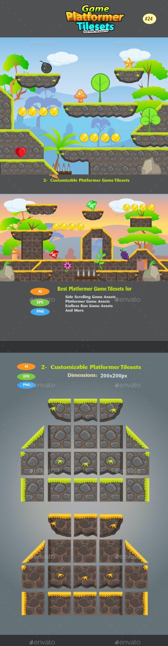 2D Game Platformer Tilesets 24 - Tilesets Game Assets