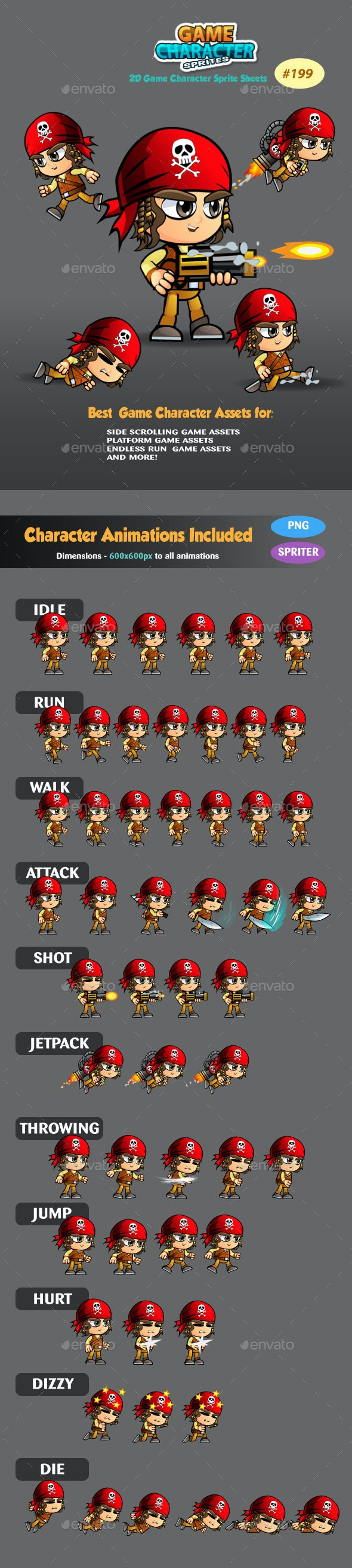 Pirate Boy 2D Game Character Sprites 199 - Sprites Game Assets
