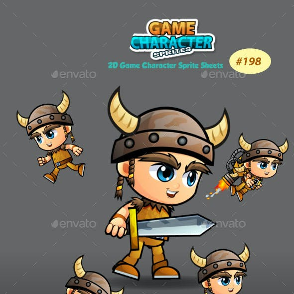 Viking Boy 2D Game Character Sprites 198