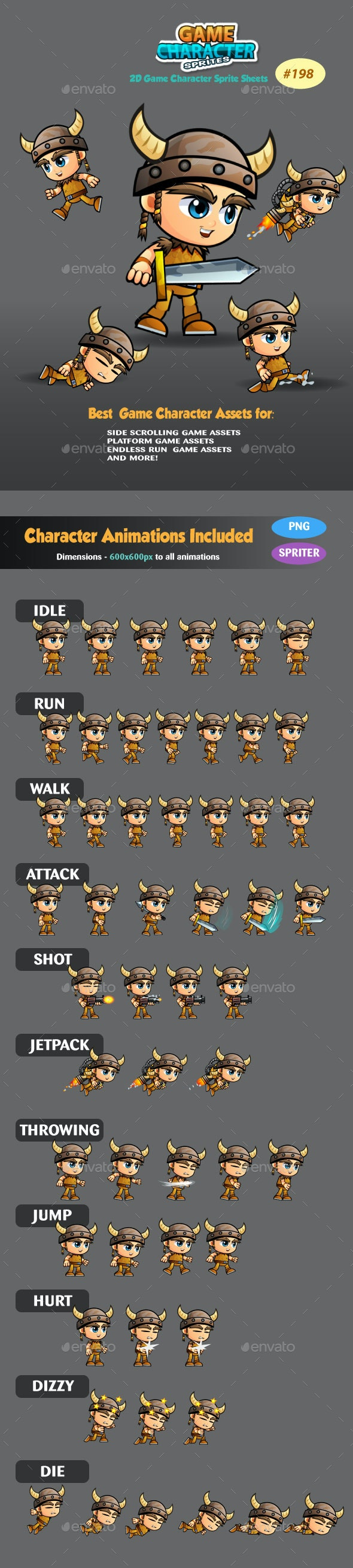 Viking Boy 2D Game Character Sprites 198 - Sprites Game Assets