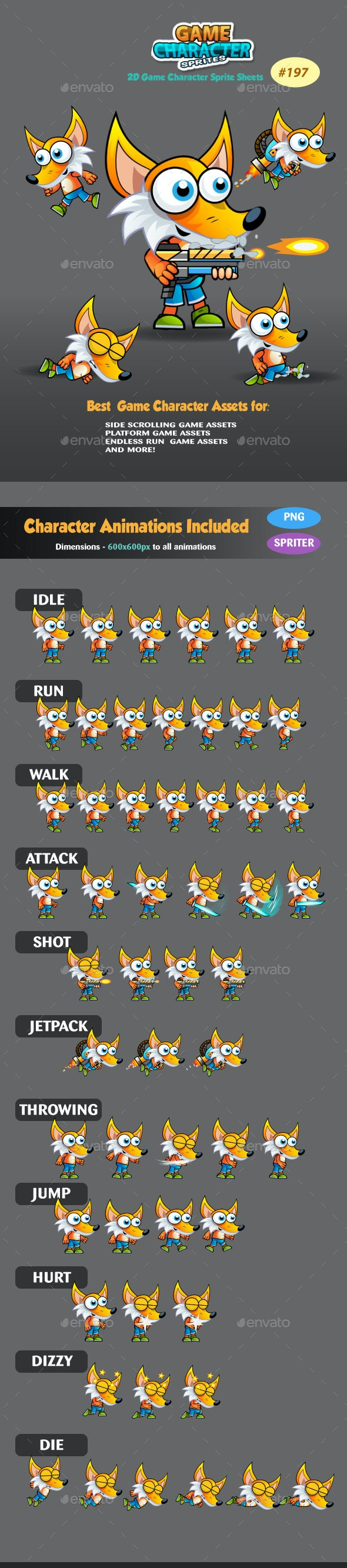 Fox 2D Game Character Sprites 187 - Sprites Game Assets