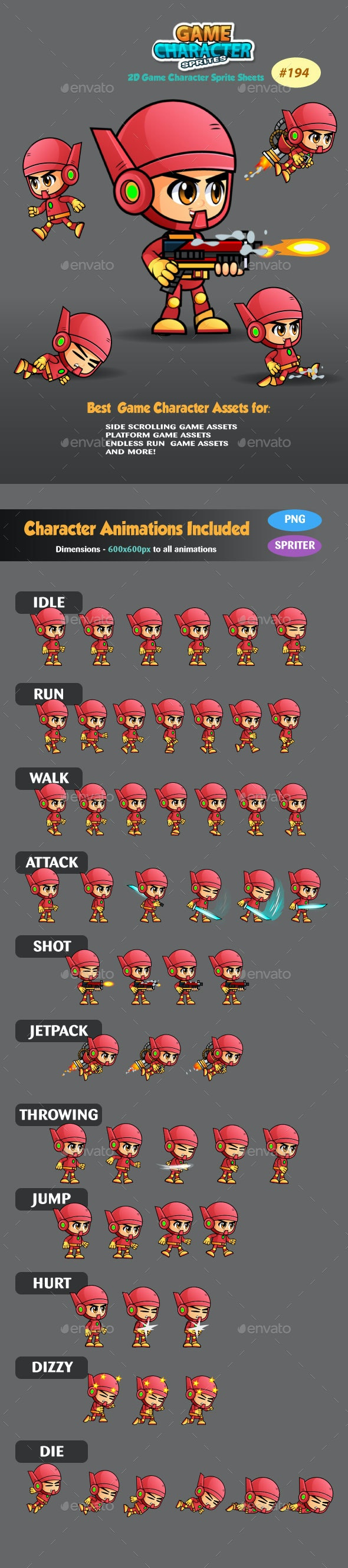 2D Game Character Sprites 194 - Sprites Game Assets