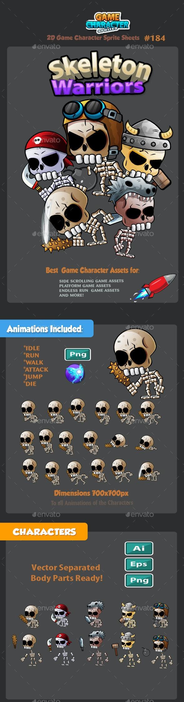 Skeleton Warriors 2D Game Character Sprites 184 - Sprites Game Assets