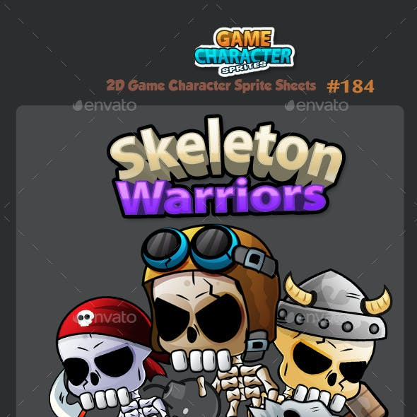 Skeleton Warriors 2D Game Character Sprites 184