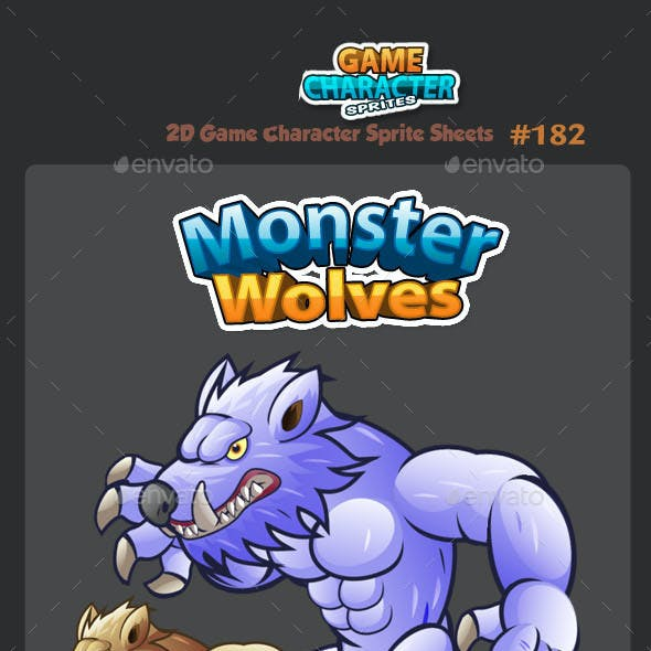 Monster Wolves 2D Game Character Sprites 182