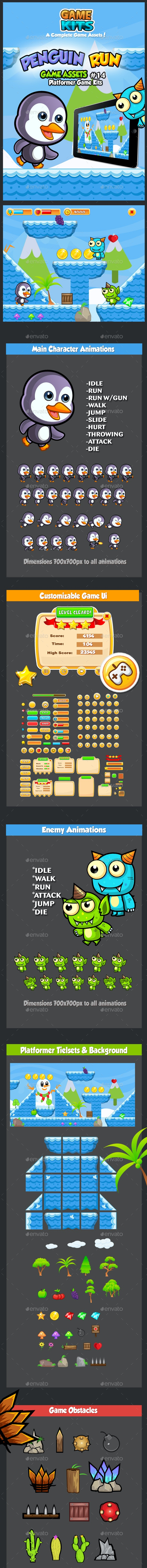 Penguin Run Platformer Game Assets 14 - Game Kits Game Assets