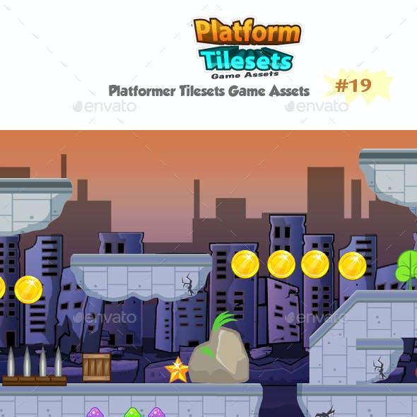 Destroyed City Game Platformer Tilesets 19