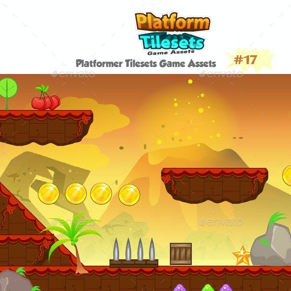 Volcanic Platformer Game Tilesets 17