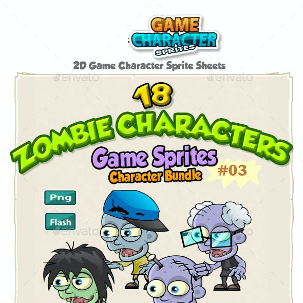 18 Zombies 2D Game Character Sprites Bundle Pack 03