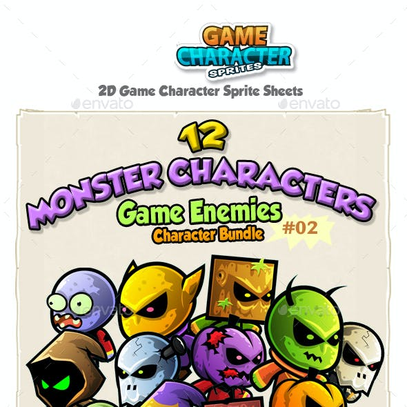 2D Game Enemies Character Sprites Bundle Pack 02