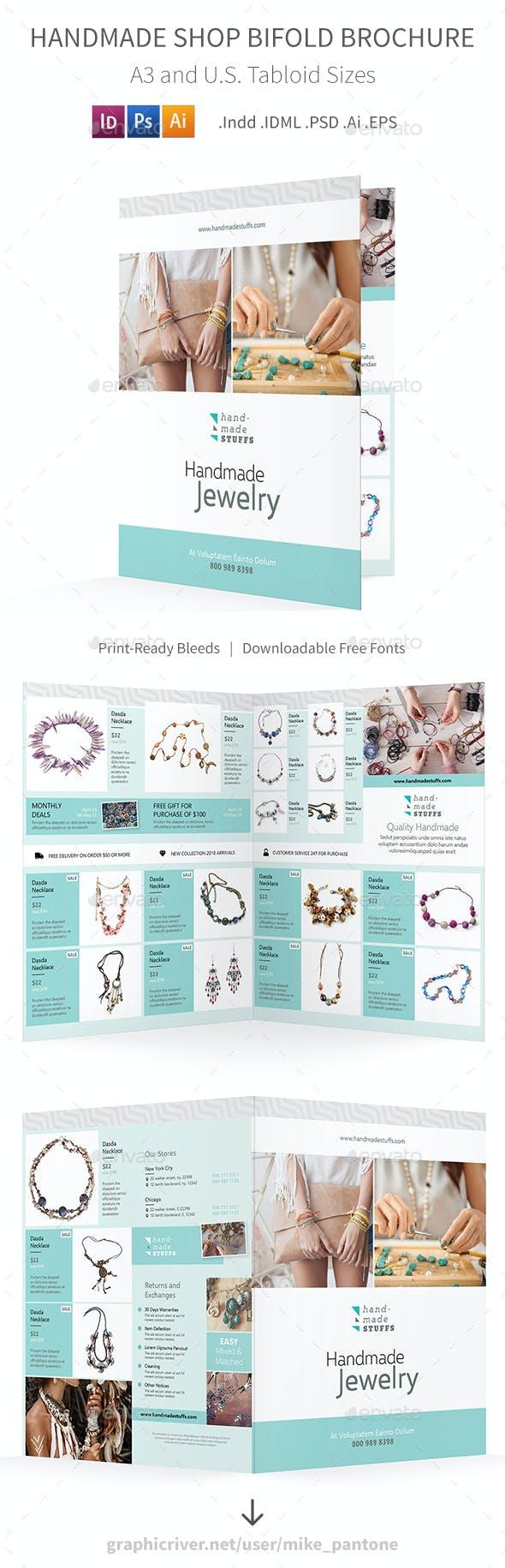 Handmade Shop Bifold / Halffold Brochure