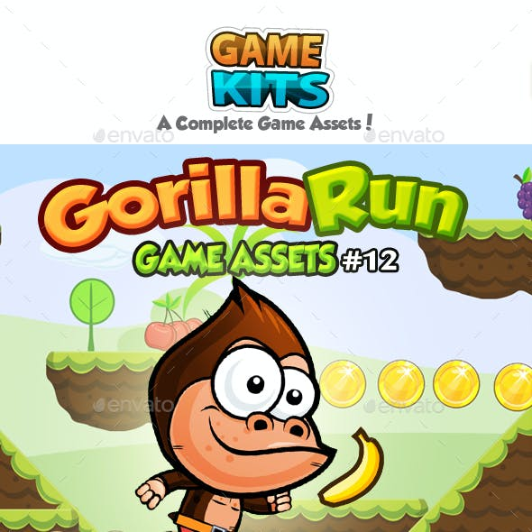 Gorilla Run Platformer Game Assets 12
