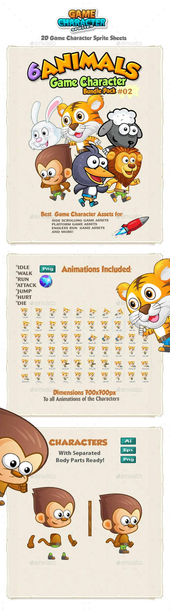 Animals 2D Game Character Sprites Bundle Pack 02 - Sprites Game Assets