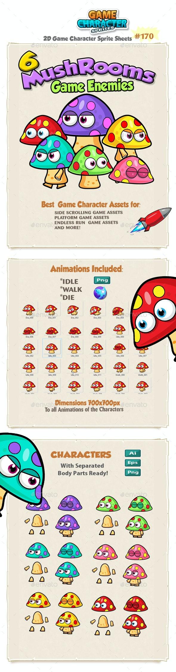 Mushrooms Game Enemies  character Sprites 171 - Sprites Game Assets