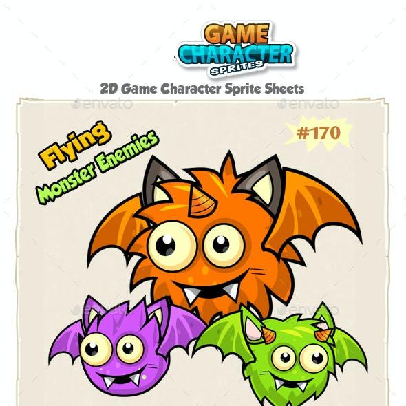 Flying Monster Enemies  Game Character Sprites 170