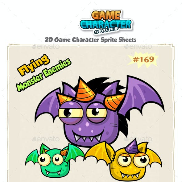 Flying Monster Enemies  Game Character Sprites 169