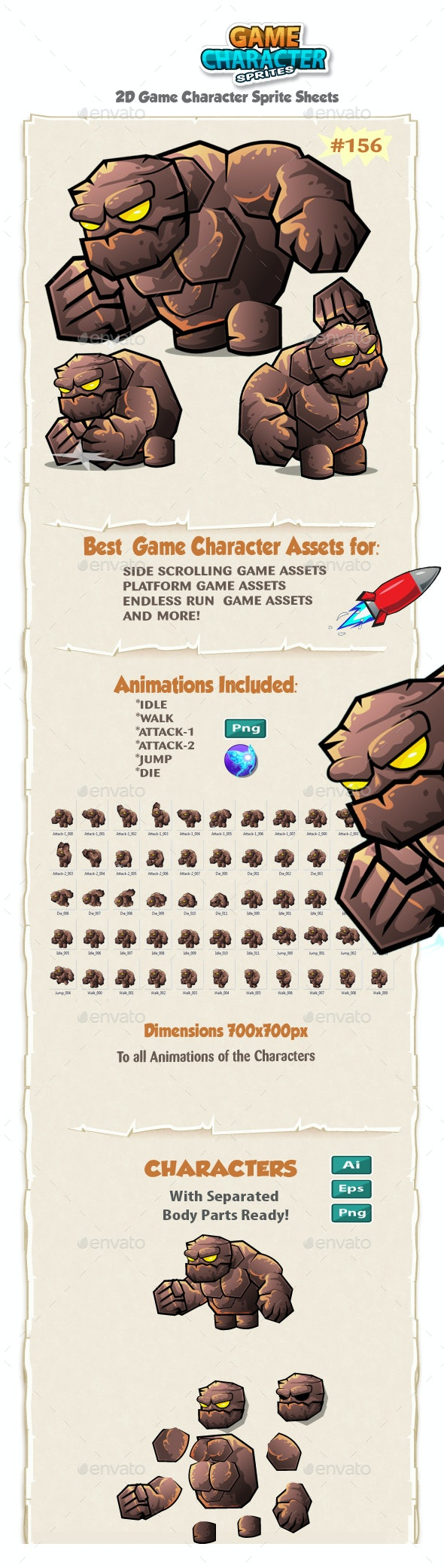 Monster Stone Giant 2D Game Character Sprites 156. - Sprites Game Assets