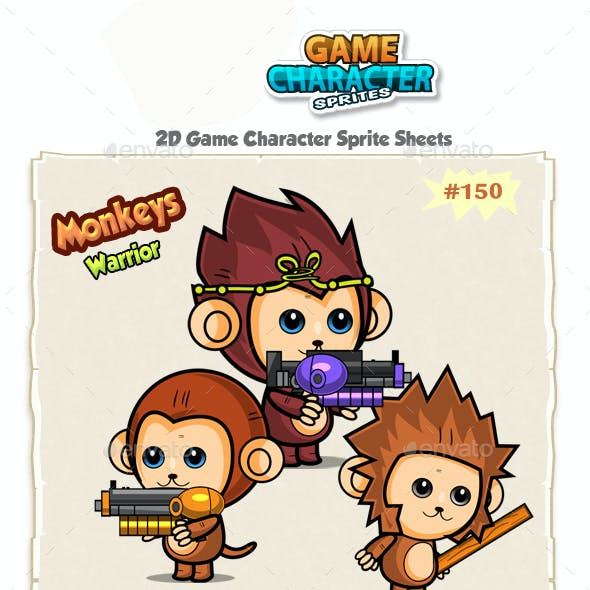 Cute Monkeys 2D Game Character Sprites 150