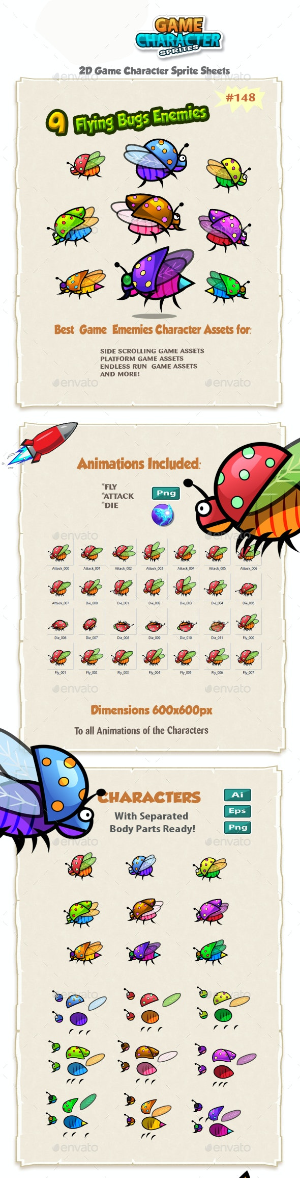 Flying Bugs 2D Game Chracter Sprites 148 - Sprites Game Assets
