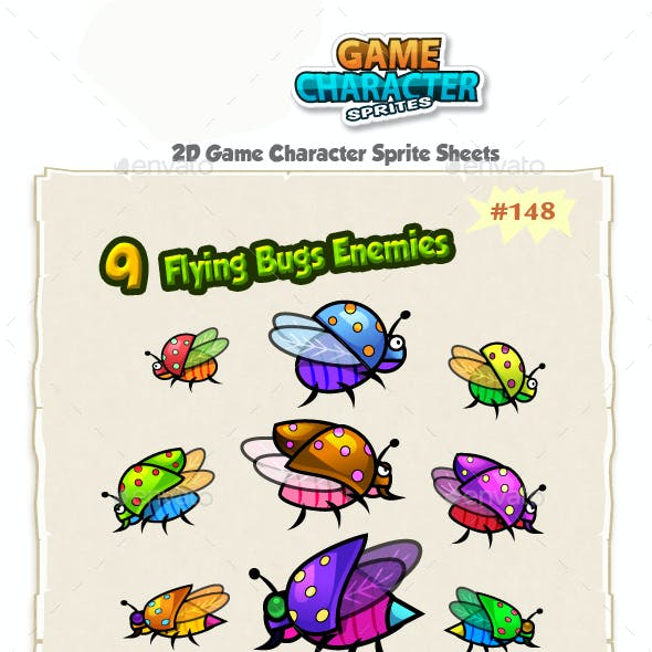 Flying Bugs 2D Game Chracter Sprites 148