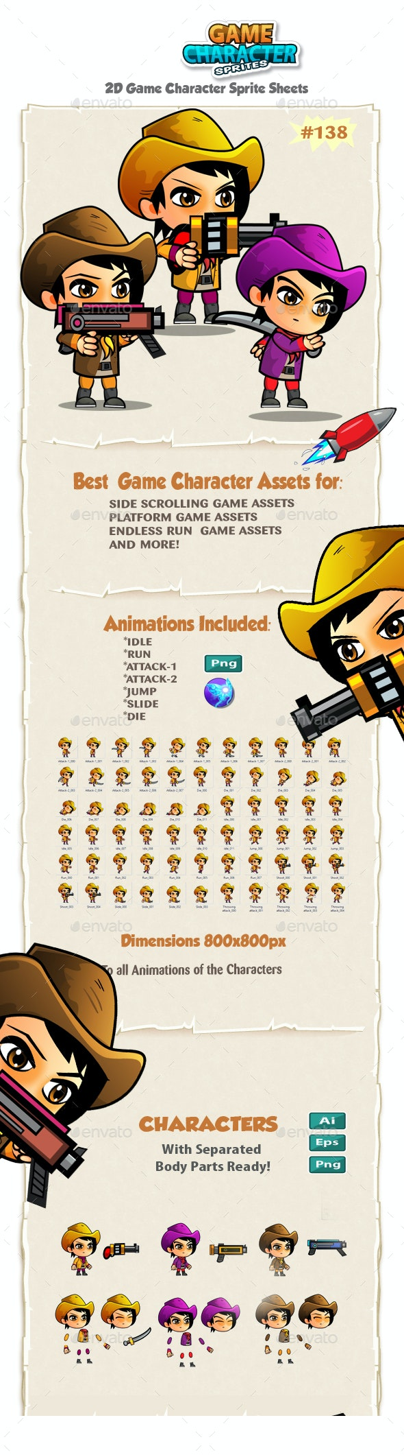 CowGirls 2D Game Character Sprites 138