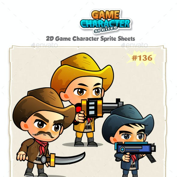 Cowboys 2D Game Character Sprites 137