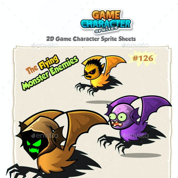 Flying Monster Enemies Charcter Sprites 126