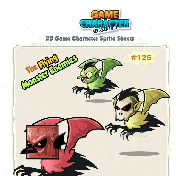 Flying Monster Enemies 2D Game Character Sprites 1