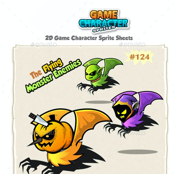 Flying Monsters 2D Game Character Sprites 124