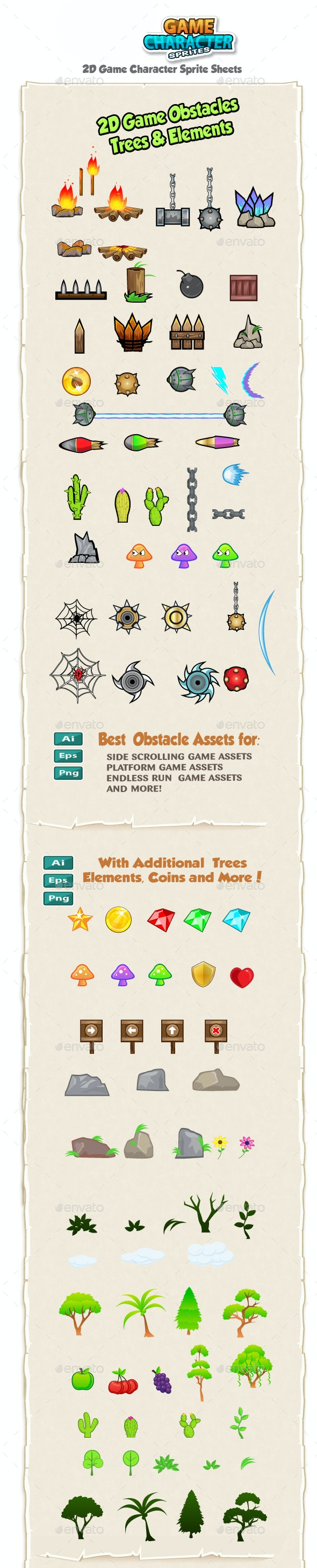 2D Game Obstacles, Trees & Elements - Sprites Game Assets