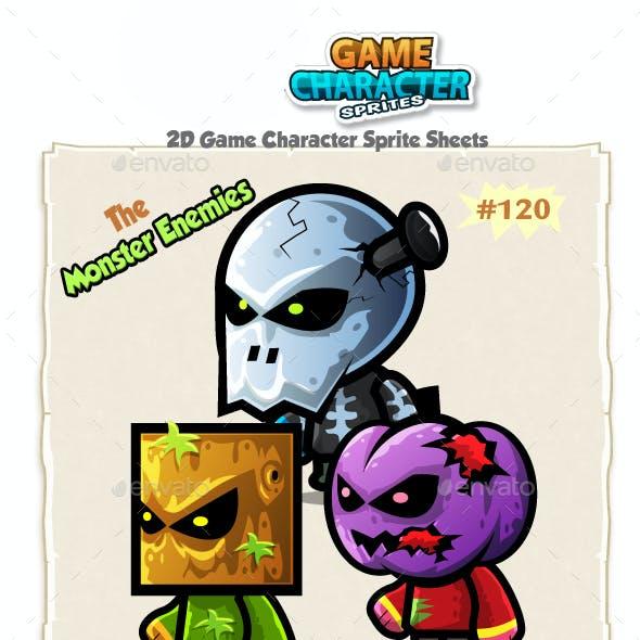 Monster Enemies 2D Game Character Sprites 120