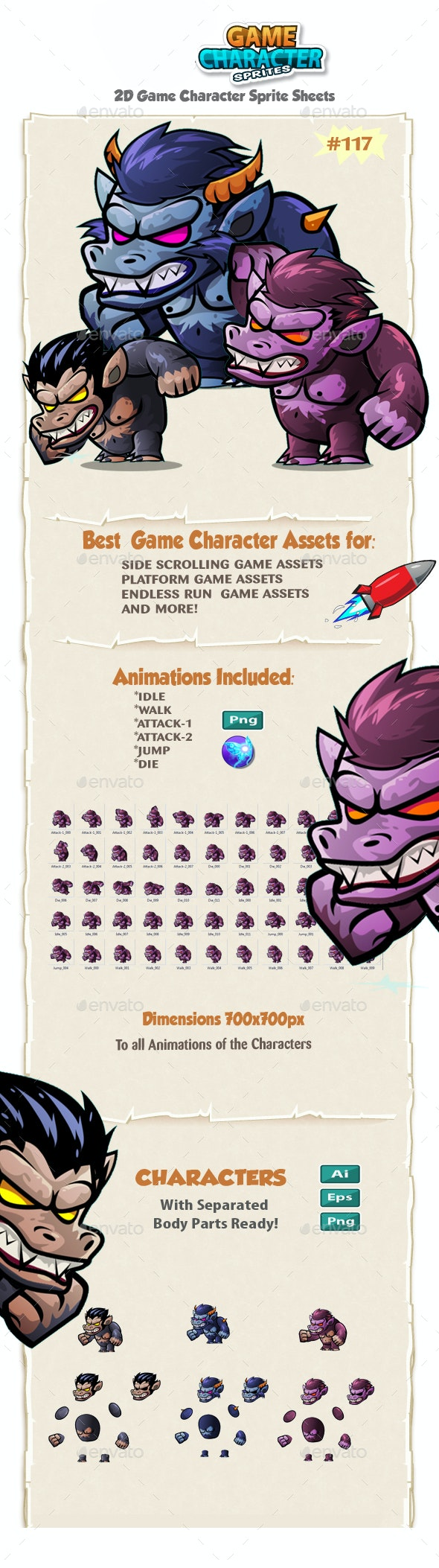 The Beast Monsters 2D Character Sprites 117 - Sprites Game Assets