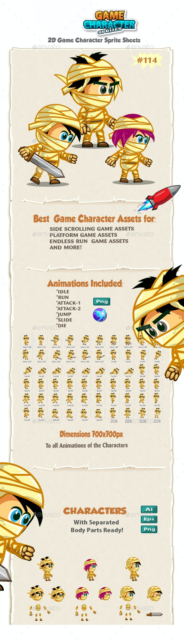The Mummy Kids 2D Game Character Sprites 114