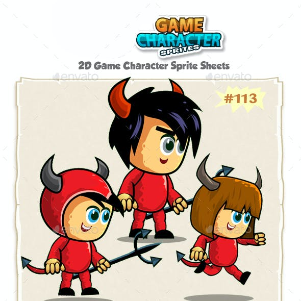 Devil Kids 2D Game Character Sprites 113
