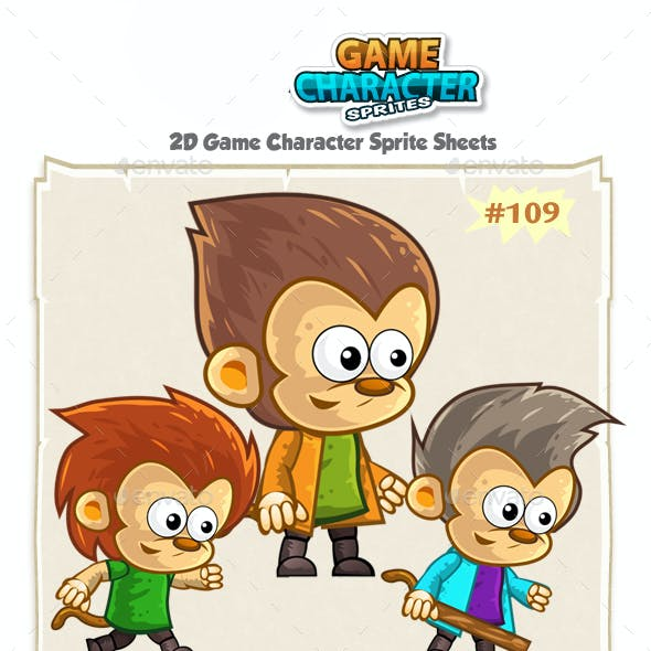 Monkeys 2D Game Character Sprites 109