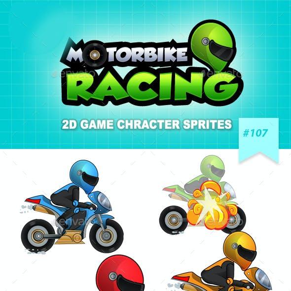 Racing Motorbike 2D Game Character Sprites