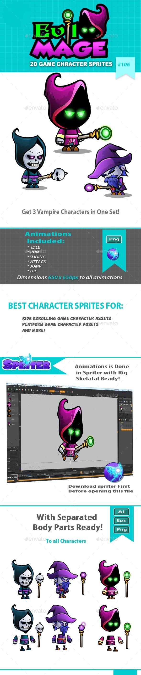 Evil Mage 2D Game Character Sprites - Sprites Game Assets