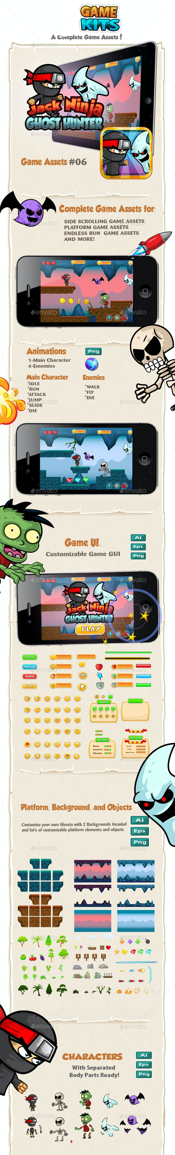 Jack Ninja - Ghost Hunter  Platformer Game Kits - Game Kits Game Assets