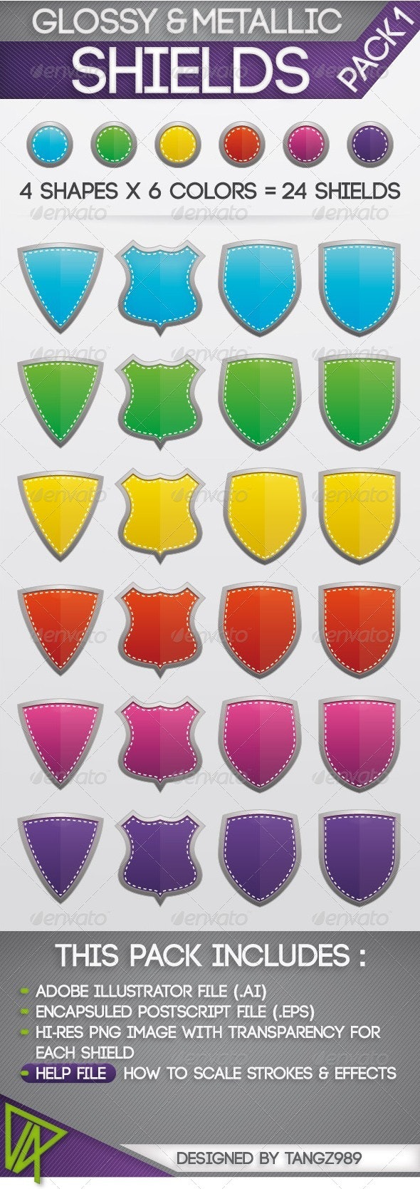 Glossy & Metallic Shields Pack 1 - Objects Vectors