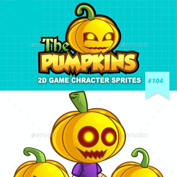 Pumpkins 2D Game Character Sprites