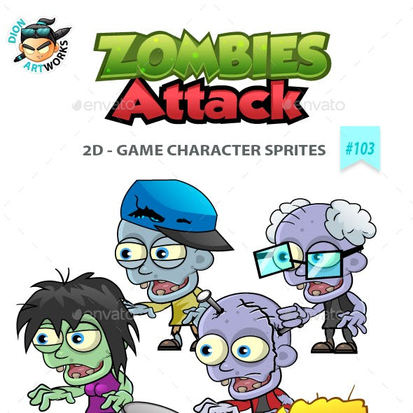 6 Zombies 2D Game Character Sprites